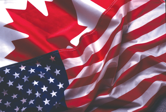 US-Canada flags together