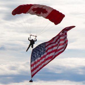 Canada American flags