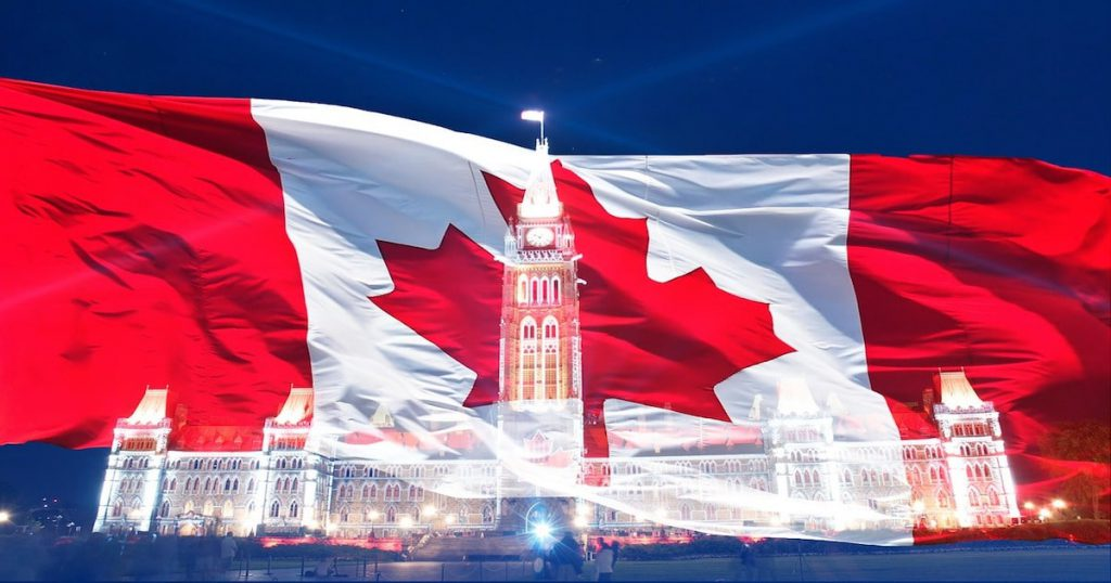 Canadian flag with Capitol